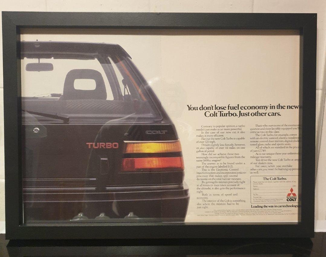 1984 Mitsubishi Colt Turbo Advert Original  For Sale (picture 1 of 2)