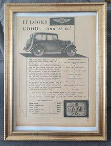 Original 1934 Standard Nine Framed Advert