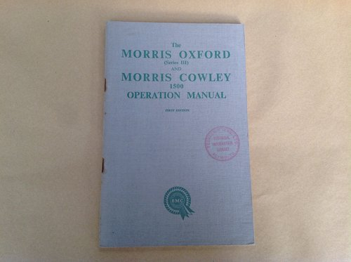 Morris Oxford S3 and Cowley 1500 Handbook For Sale (picture 1 of 2)