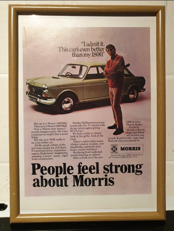 1968 Original Morris 1800 Framed Advert For Sale (picture 1 of 2)