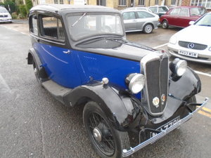 1935 Morris 8, Two tone blue and black.