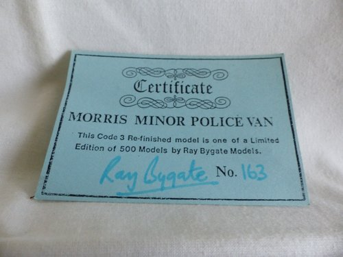 1960 MORRIS MINOR POLICE VAN LTD ED RAY BYGATE MODELS For Sale (picture 3 of 6)