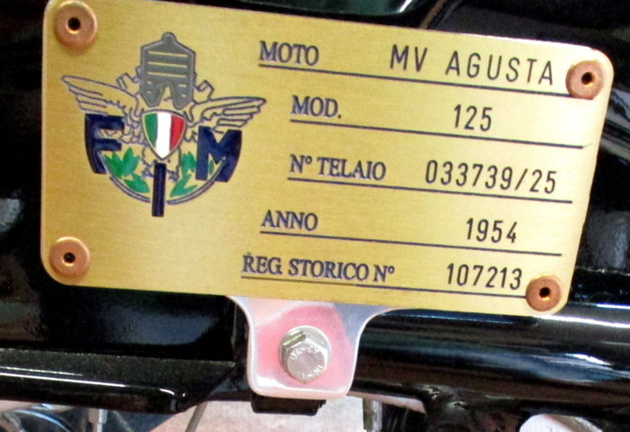 MV AGUSTA 125 TURISMO (1954) - EXCELLENT For Sale (picture 6 of 6)