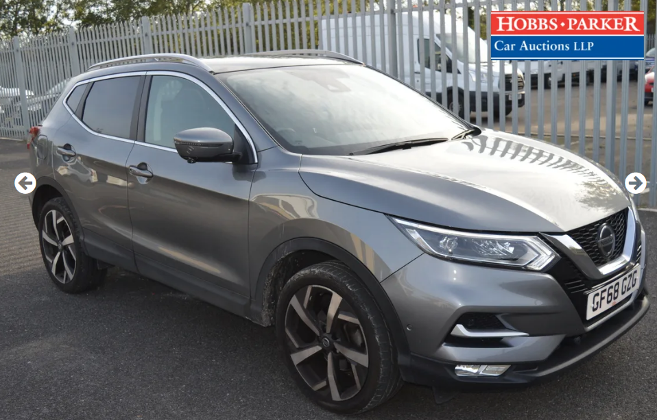 2018 Nissan Qashqai Tekna Dig-T S-A 8,514 Miles for auction 25th For Sale (picture 1 of 6)