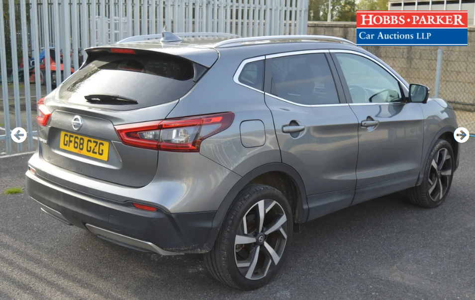 2018 Nissan Qashqai Tekna Dig-T S-A 8,514 Miles for auction 25th For Sale (picture 2 of 6)