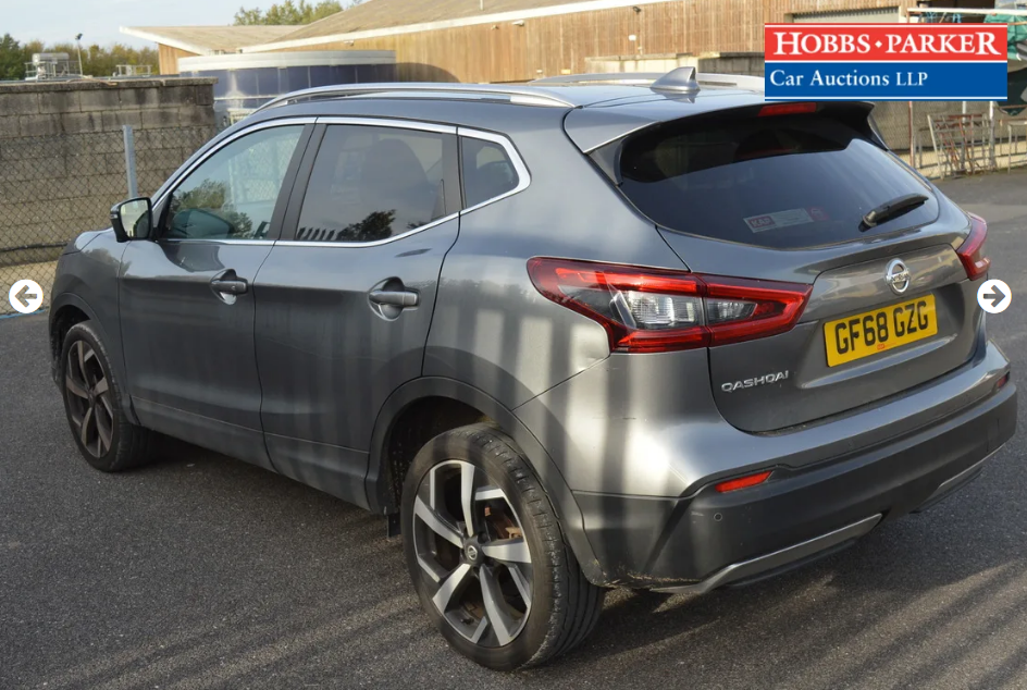 2018 Nissan Qashqai Tekna Dig-T S-A 8,514 Miles for auction 25th For Sale (picture 3 of 6)
