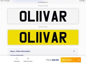 OLIVER Number Plate For Sale