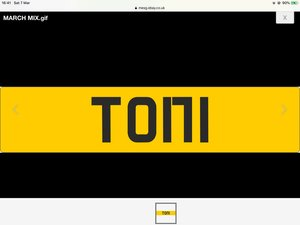 Toni cherished number plate