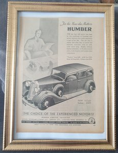 Original 1934 Humber 16/60 Framed Advert