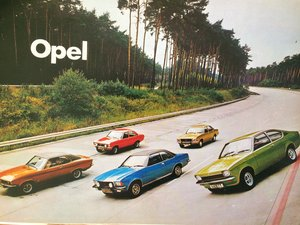 Opel and Vauxhall Opel brochures.