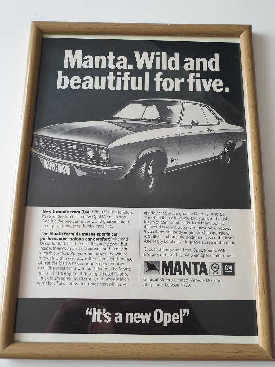 Original 1970 Opel Manta Advert For Sale (picture 1 of 2)