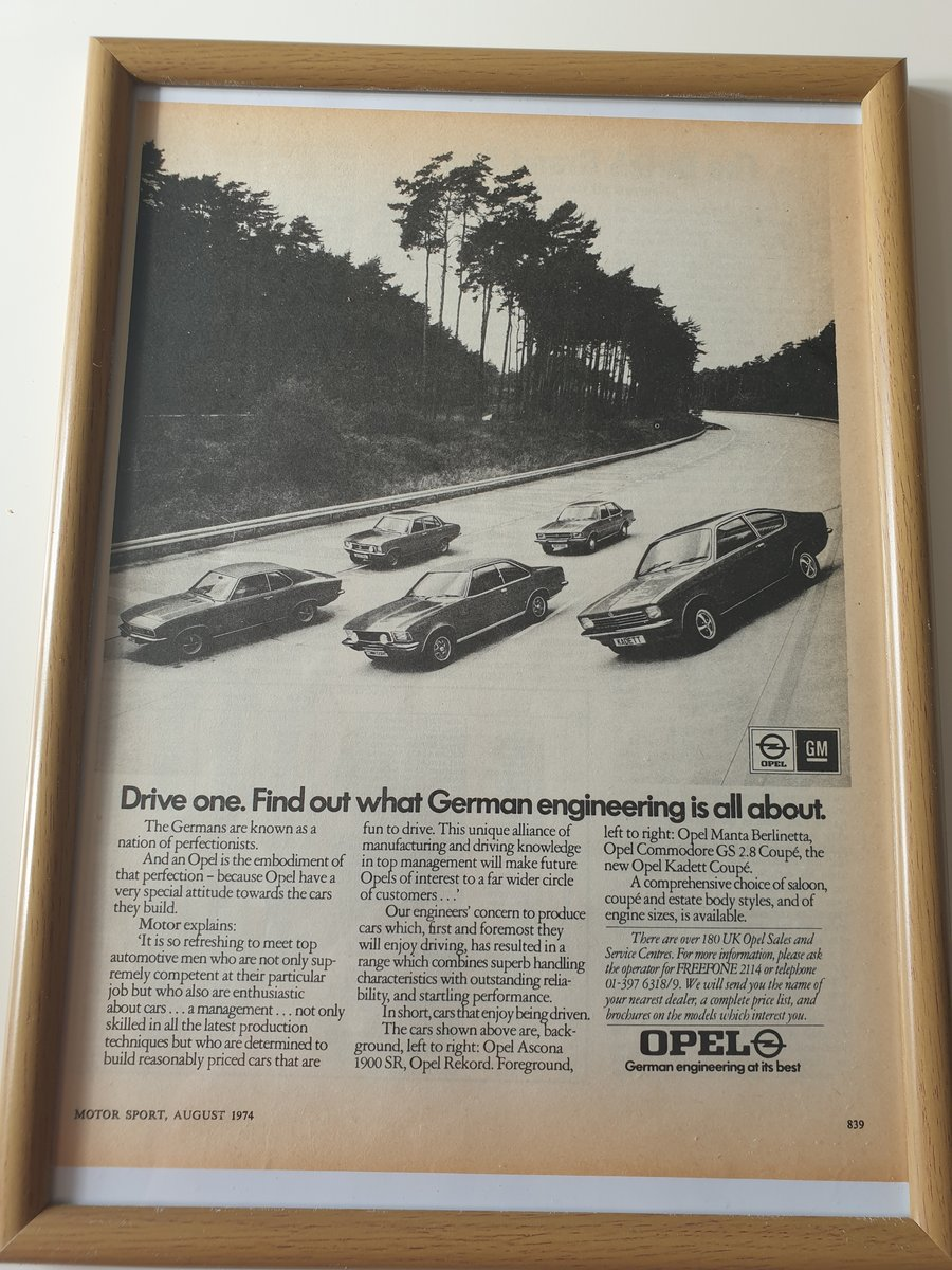 Original 1974 Opel Framed Advert  For Sale (picture 1 of 1)