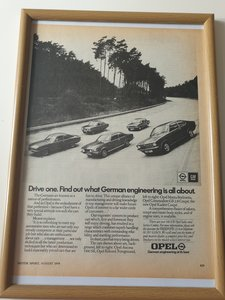 Original 1974 Opel Framed Advert