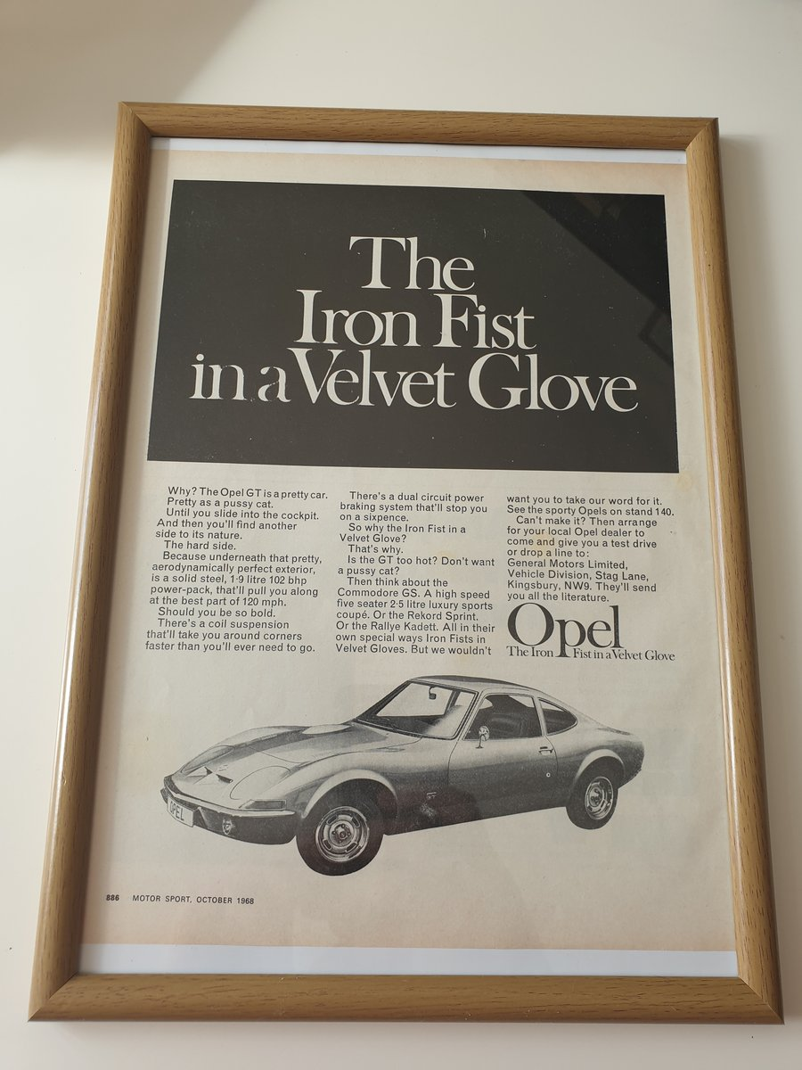 Original 1968 Opel GT Framed advert For Sale (picture 1 of 1)