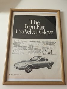 Original 1968 Opel GT Framed advert