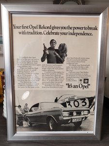 Original 1970 Opel Rekord Framed Advert