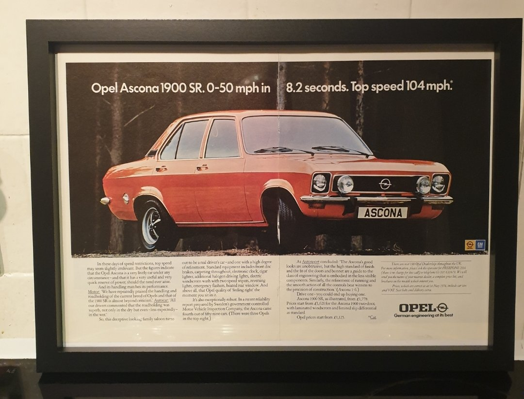1974 Opel Ascona Framed Advert Original  For Sale (picture 1 of 2)