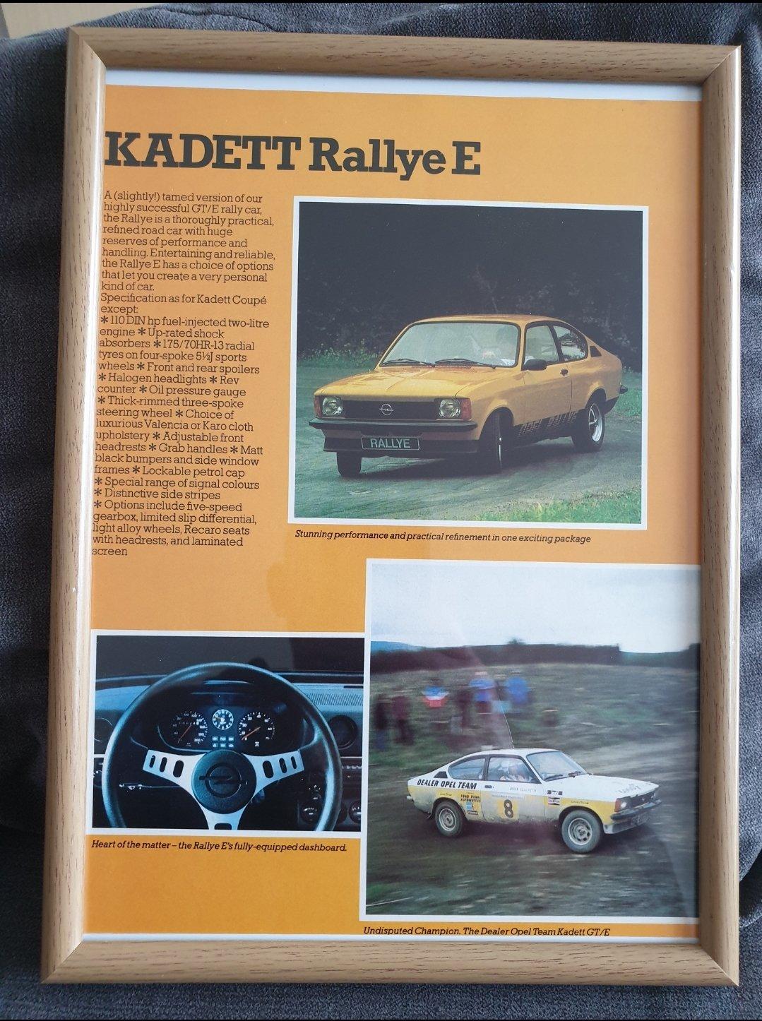 1979 Original Opel Kadett Framed Advert For Sale (picture 1 of 2)