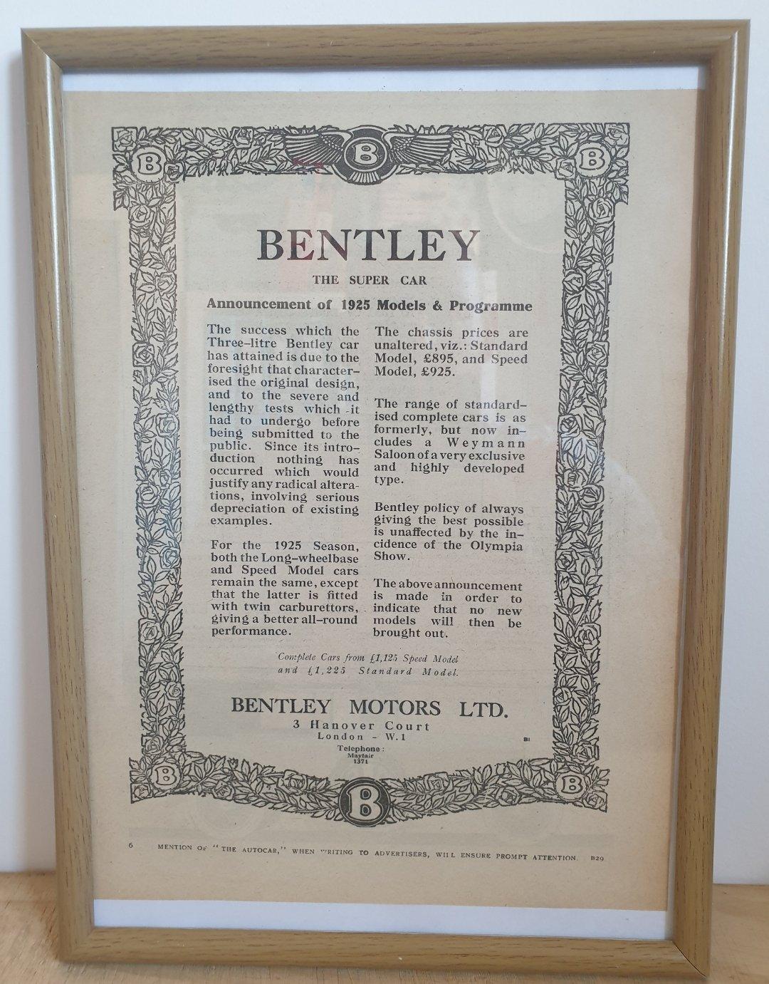 1970 Original 1924 Bentley Framed Advert  For Sale (picture 1 of 2)