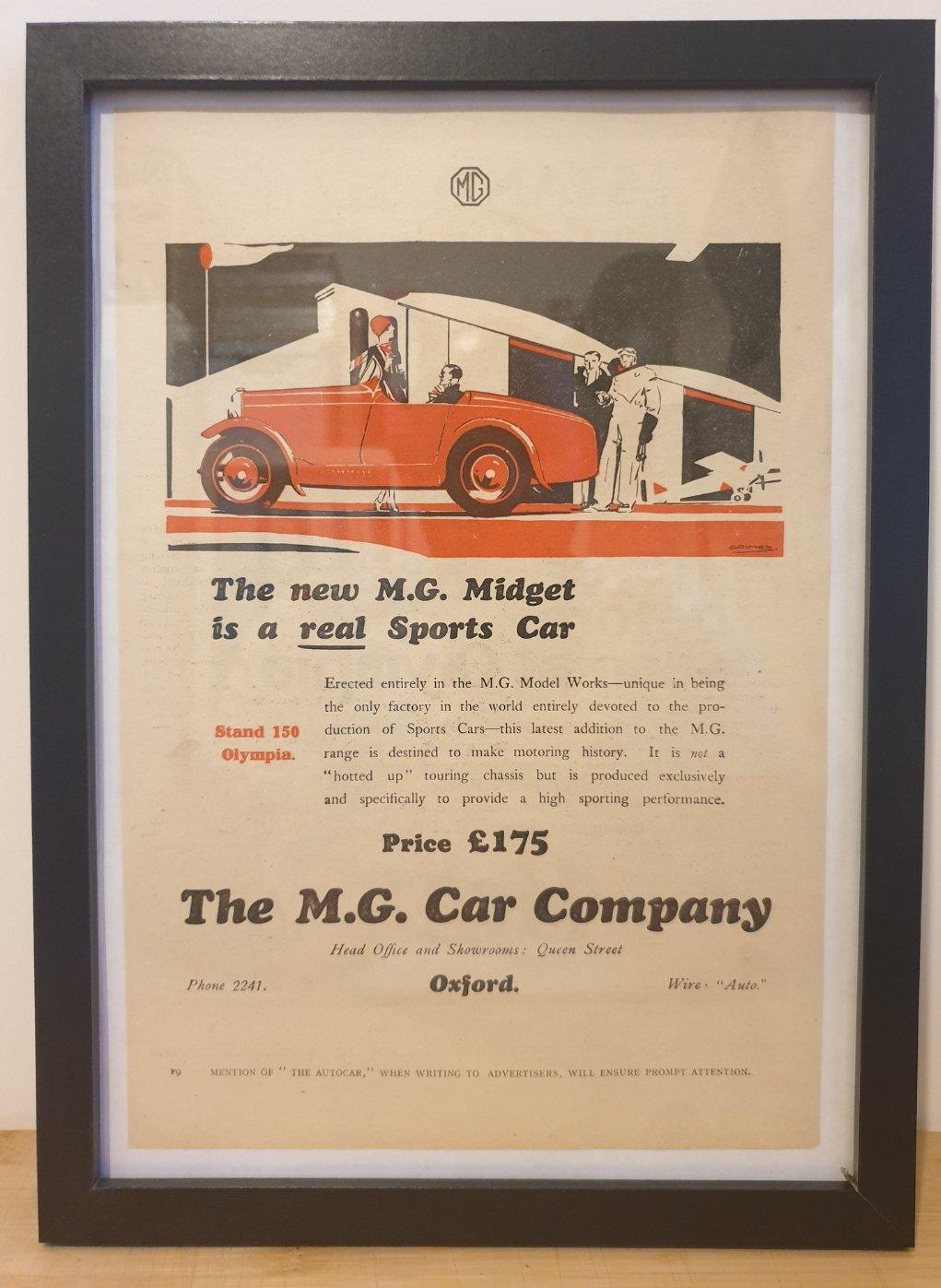 1968 Original 1928 MG Midget Framed Advert  For Sale (picture 1 of 3)