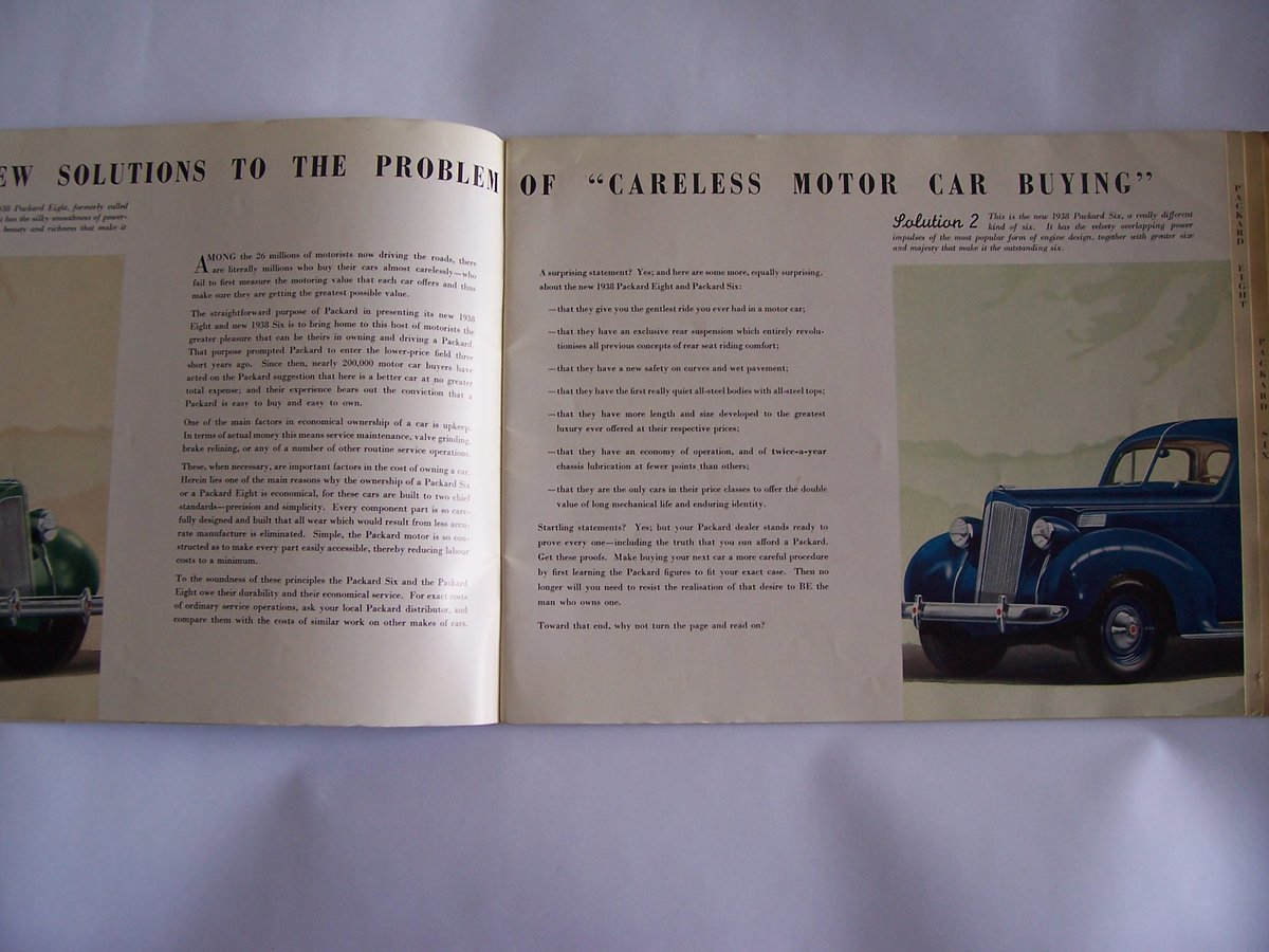 1938 PACKARD 8 &6 COLOUR BROUCHURE For Sale (picture 6 of 6)