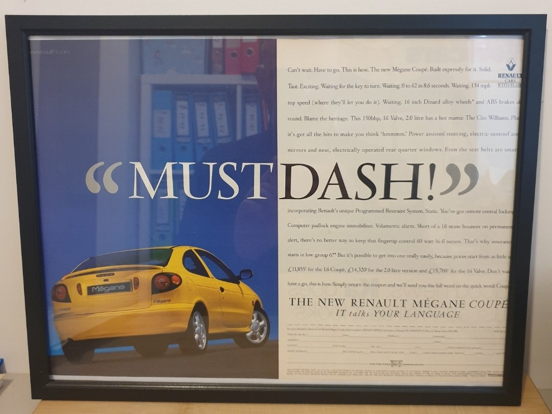 Picture of 1984 Original 1996 Renault Megane Framed Advert