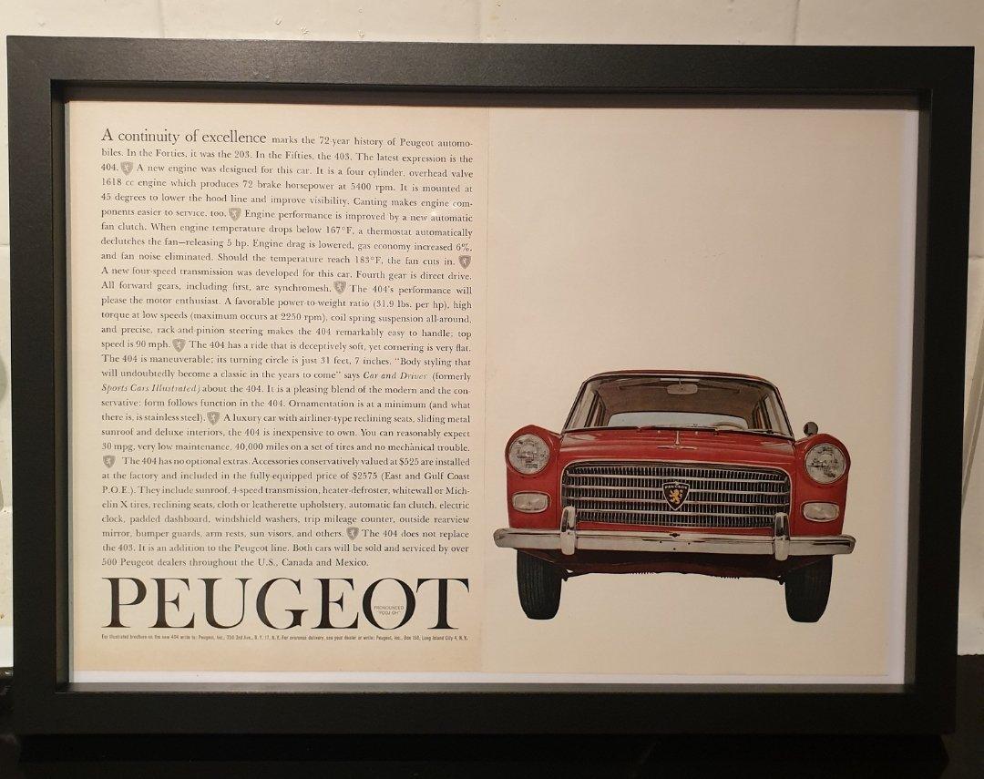 Original Peugeot 404 Framed Advert For Sale (picture 1 of 2)