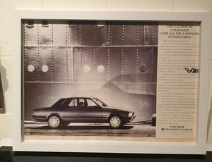 Original 1987 Peugeot 505 V6 Framed Advert