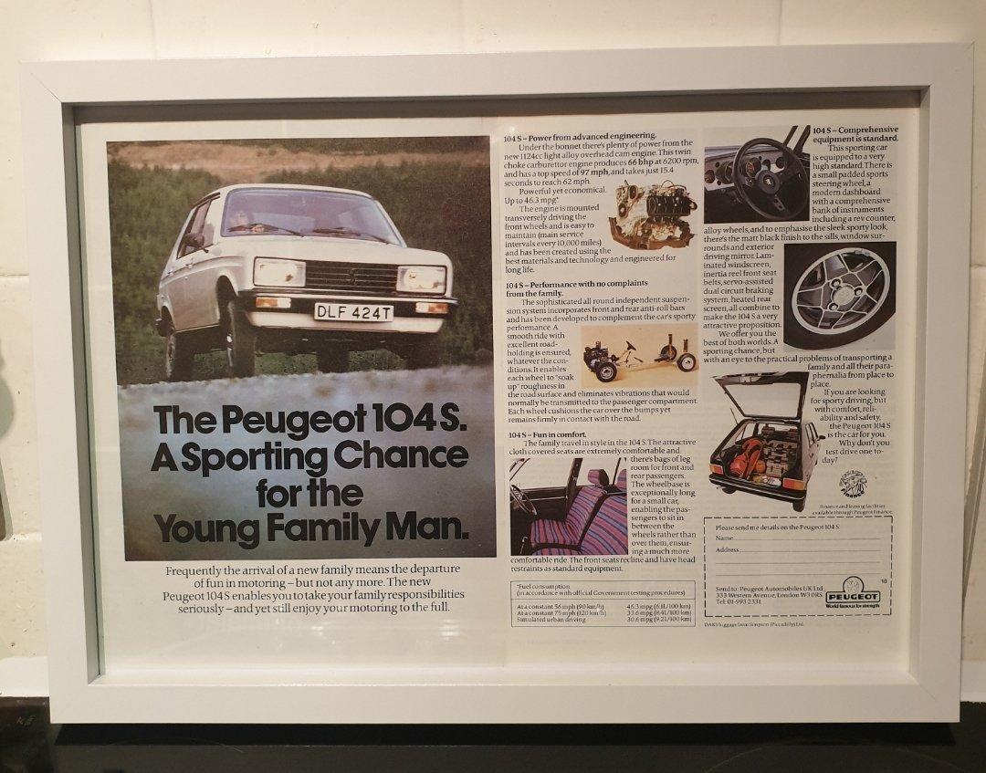 1979 Original Peugeot 104S Framed Advert For Sale (picture 1 of 2)