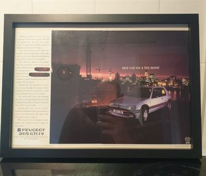 1987 Peugeot 205 GTI Framed Advert Original