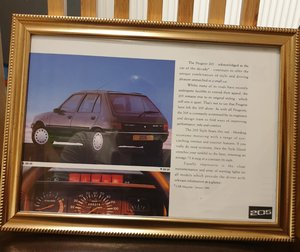 1992 Peugeot 205 Framed Advert Original