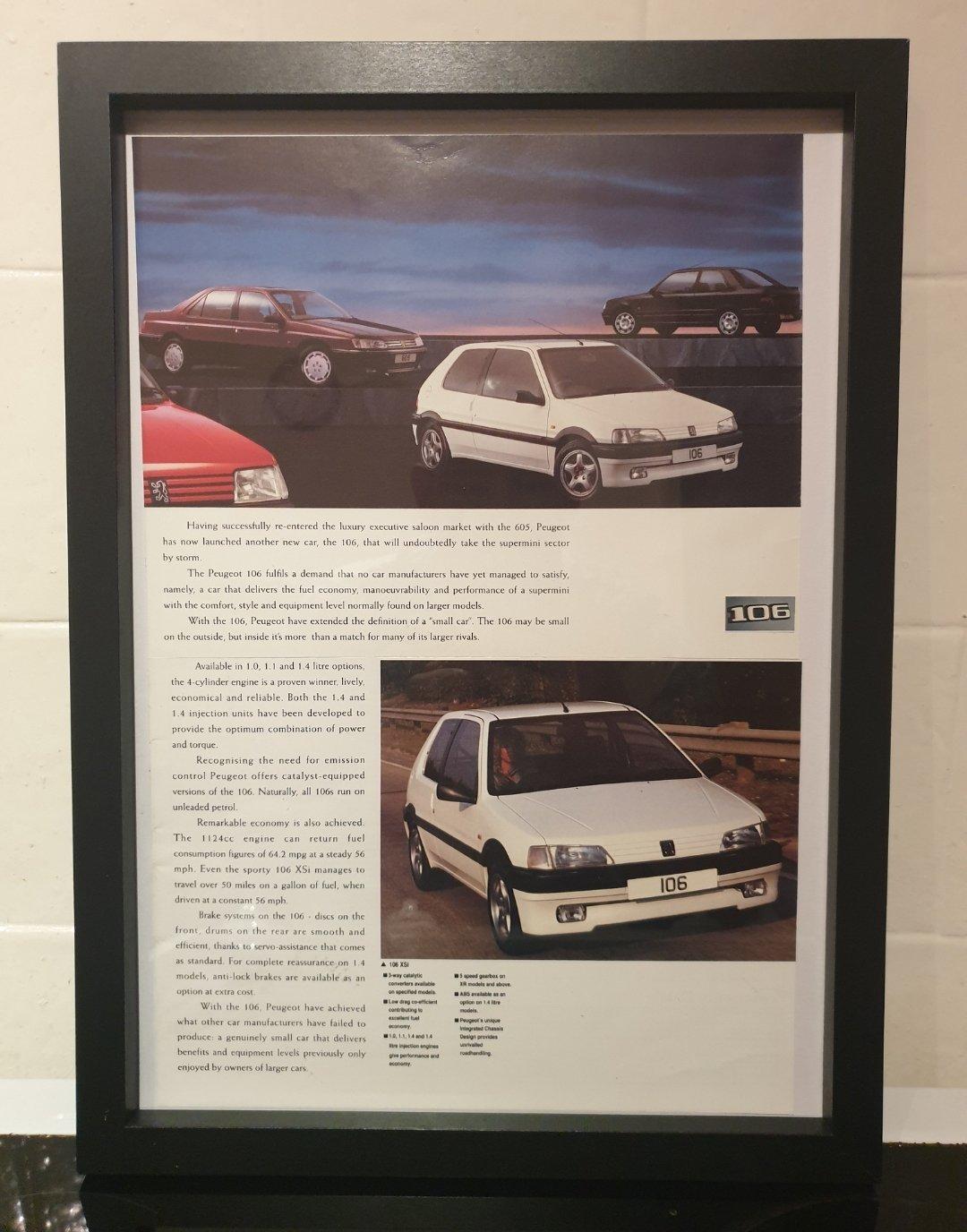 1992 Peugeot 106 Framed Advert Original  For Sale (picture 1 of 2)