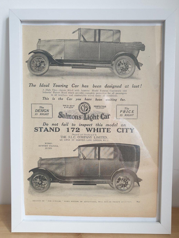 1981 Original 1922 Salmons Light Car Framed Advert  For Sale (picture 1 of 2)
