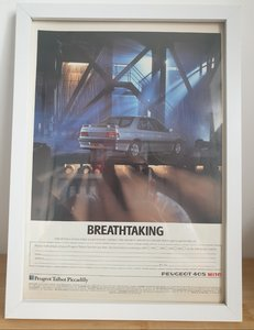 Picture of 1992 Original 1989 Peugeot 405 Mi16 Framed Advert
