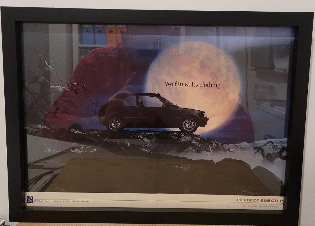 Picture of 1985 Original 1991 Peugeot 205 GTI Framed Advert For Sale