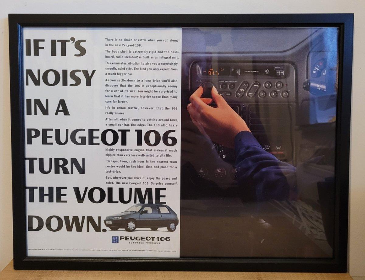 Original 1992 Peugeot 106 Framed Advert For Sale (picture 1 of 3)