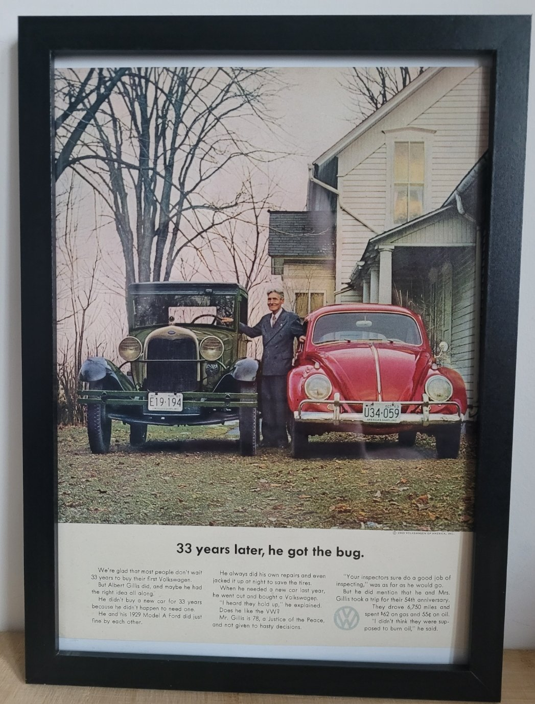 Picture of 1992 Original 1963 Volkswagen Beetle Framed Advert