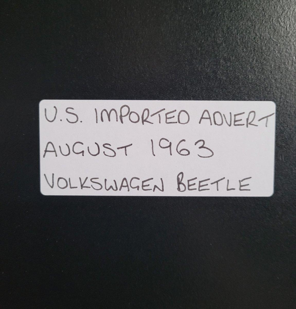 1992 Original 1963 Volkswagen Beetle Framed Advert For Sale (picture 2 of 3)