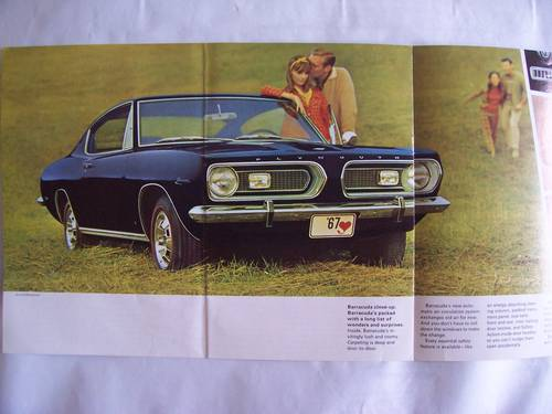1967 ' 67 PLYMOUTH BARRACUDA COUPE / CONVERTIBLE SALES BROCHURE For Sale (picture 4 of 6)