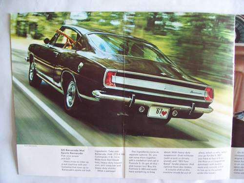 1967 ' 67 PLYMOUTH BARRACUDA COUPE / CONVERTIBLE SALES BROCHURE For Sale (picture 5 of 6)