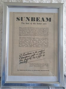 Original 1933 Sunbeam Framed Advert