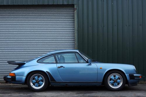 1985 Porsche 911 3.2 Carrera Coupe, Iris Blue, Leather, FSH. For Sale (picture 2 of 6)