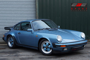 1985 Porsche 911 3.2 Carrera Coupe, Iris Blue, Leather, FSH. For Sale
