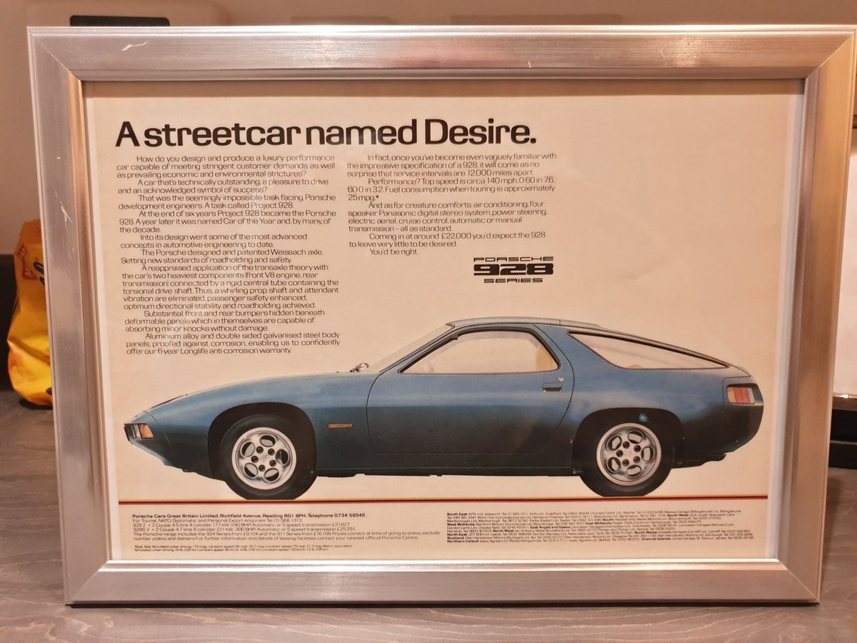 Original 1980 Porsche 928 Framed Advert  For Sale (picture 1 of 2)