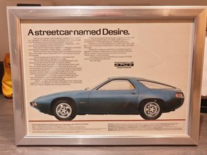 Original 1980 Porsche 928 Framed Advert