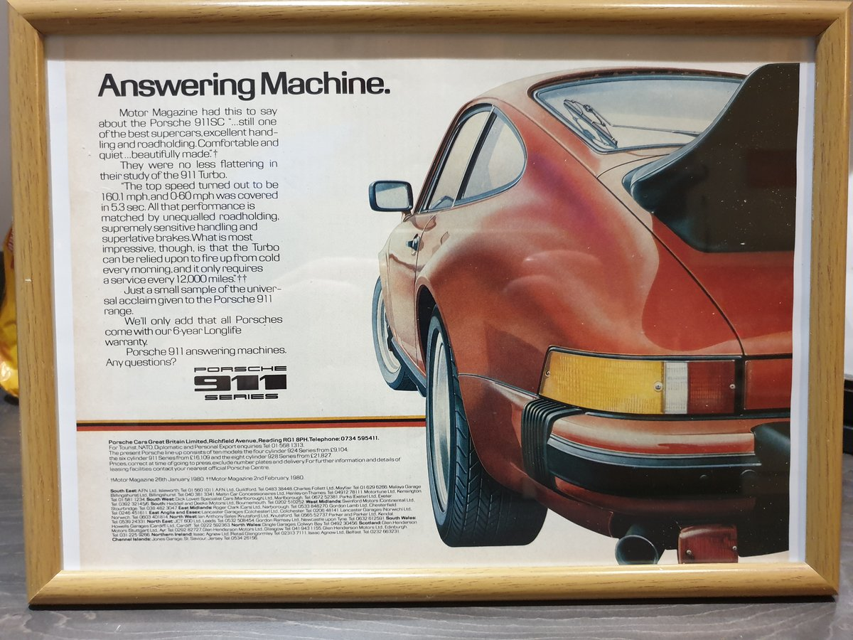 Original 1980 Porsche 911 Framed Advert For Sale (picture 1 of 3)
