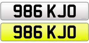 986 KJO Private Plate Cherished Number