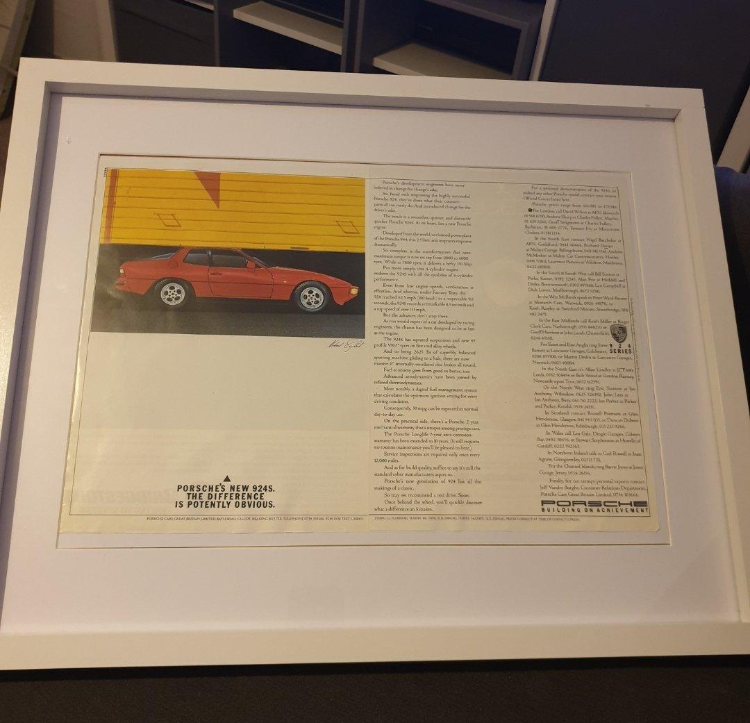 1985 Porsche 924S Advert Original  For Sale (picture 1 of 2)