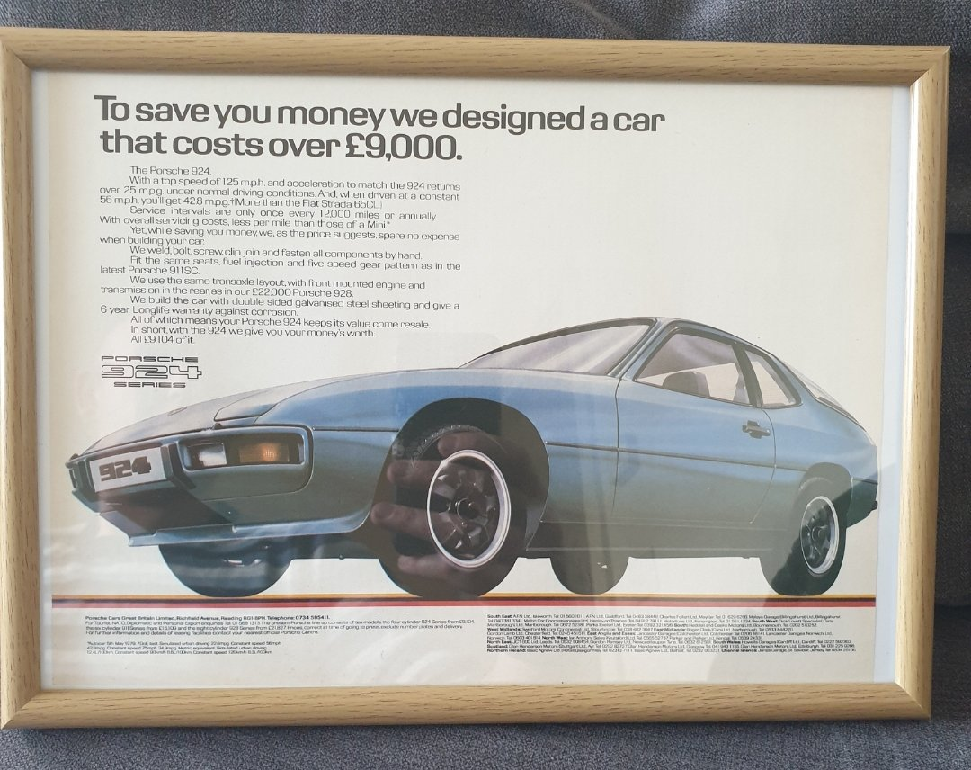 1980 Original Porsche 924 Advert For Sale (picture 1 of 2)