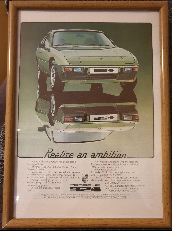 1979 Original Porsche 924 Framed Advert For Sale (picture 1 of 2)